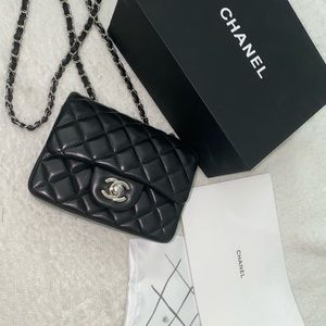 Authentic Chanel Lambskin & Silver Tone Metal Bag
